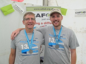 Ben and Richard Oldham after completing the Great North Run