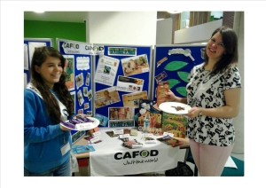 Members of One World society and their Fairtrade chocolate stall