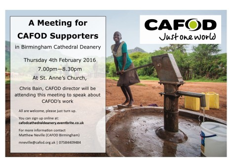 CAFOD Poster for Cathedral Deanery Meeting