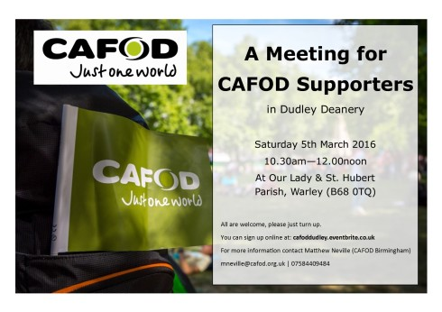 CAFOD Poster for Dudley Deanery Meeting