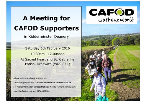 CAFOD Poster for Kidderminster Deanery Meeting