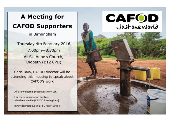 CAFOD Poster for Meeting with Chris Bain